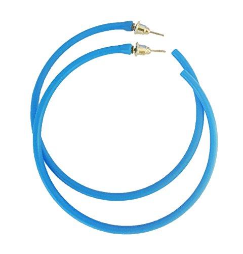 Neon Blue 80s Hoop Earrings for Ladies