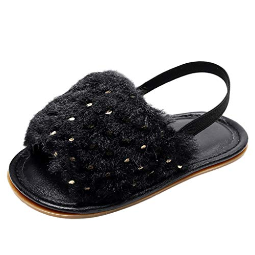 Sandals for Kids~HOTSELL〔ㄥ〕Girls Sandals Kids Fluffy Sliders Toddlers Fur Slippers Infants Sandals for Indoor/Outdoor Children Sling Back Sandals Size 3-7.5UK