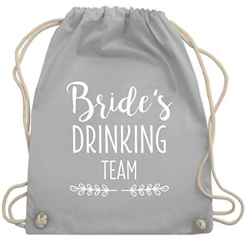 JGA Junggesellinnenabschied - Bride's Drinking Team - Unisize - Hellgrau - WM110 - Turnbeutel & Gym Bag (Lustige Team Motto Kostüm)