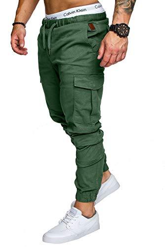 Amaci&Sons Jogger Cargo Herren Chino Jeans Hose 7001 Khaki W30 - Khaki Hose Herren