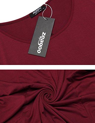 Zeagoo Damen Kurzarm Tunika Tops Longshirt Loose Fit T-Shirt Rundhals Shirt Blusen Obertaile mit A-Linie Saum A-Weinrot