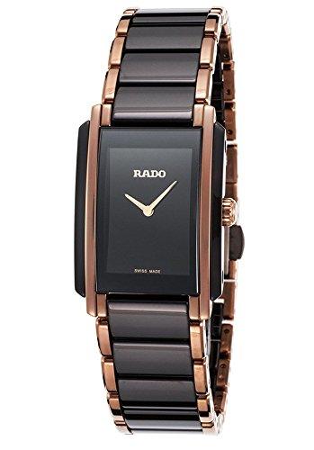 Rado Femme en céramique Noir Bracelet en acier Doré et coque Swiss montre à quartz analogique R20612152
