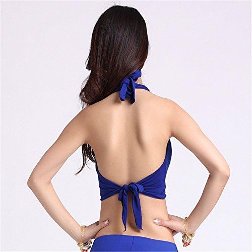 Women Sexy Dance Tops Bauchtanz Costume Cotton Crystal Halter Bra Top Dancewear Bauchtanz Tops Dark Blue