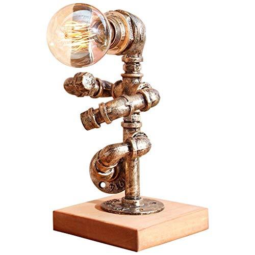 GRMV Retro Industrial Style Bronze Wasserpfeife Tischlampe, Stand Up Modellierung, Vintage E27, Wohnzimmer Bar Büro Dekoration Massivholz Schreibtisch Tischleuchte -