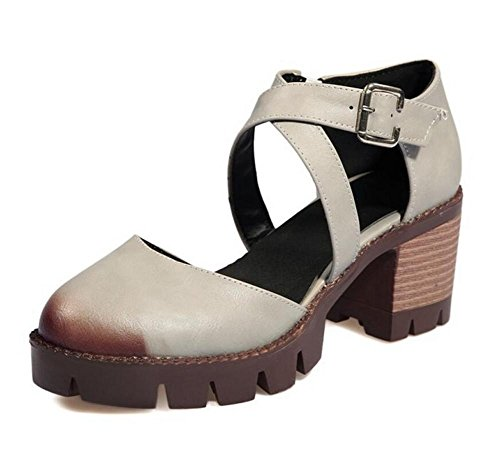 Retro impermeabile Sandali tacco basso spessore Hollow Belt Buckle Womens Shoes light gray
