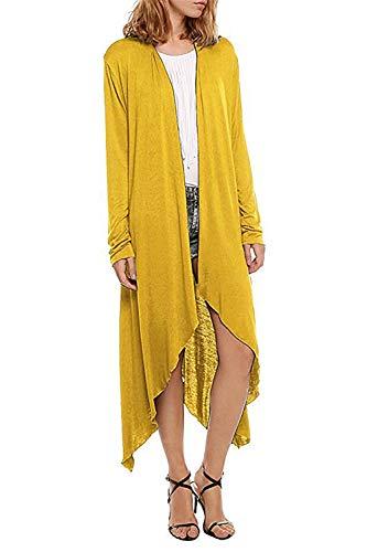 Swallowuk Damen Mantel Herbst Langarm Open Cape Casual Bluse Kimono Jacke Strickjacke Cardigan Jacken Oberbekleidung (XXL, Gelb)
