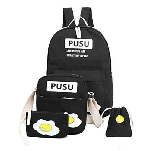 Minetom 4 Pezzi Clutch Bag Messenger Piccole Tasche Tela Borsa Zainetto Donna Spalla Zaini Scuola Superiore Zainetti Ragazze Uovo Nero