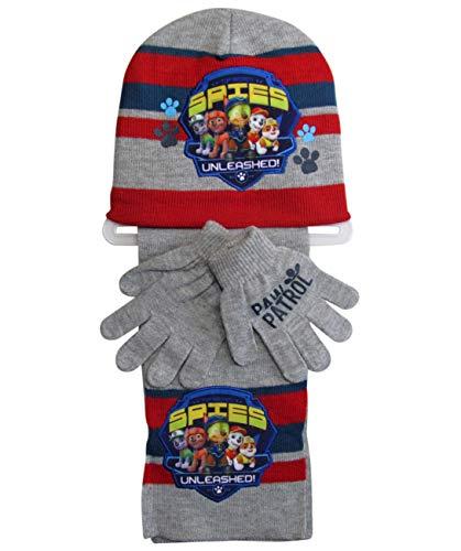 Paw Patrol Mütze Handschuhe und Schal Marshall (Grau, 4-7 Jahre)