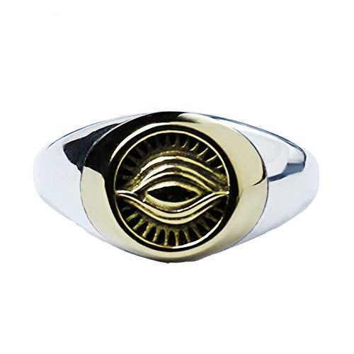 TIZIKJ Männer Junge VintageOmniscient Eye Retro Altes Symbol Sonnengott Offener Ring Größe 14-22 Breites Biker-Band Ring Solide Robuste Details Design Altmodisches Amulett