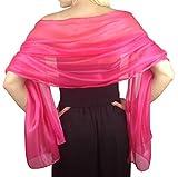 Central Chic Seidig schillernder Wickelschal für Hochzeiten, Brautjungfern, Abendkleidung, Abschlussball und Partys, 24 Farben Gr. One size, hot pink