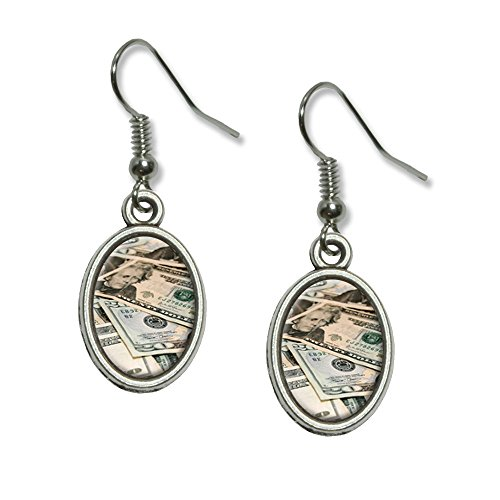 Zwanzig Dollar Rechnungen Geld Währung Neuheit Dangling Drop oval Charm-Ohrringe (Neuheit Währung)