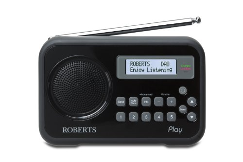 Roberts Radio Play Digital Radio with DAB/DAB+/FM RDS and Built-In Battery Charger - Black