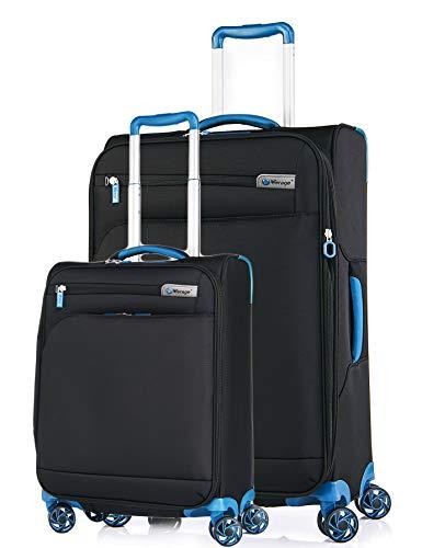 Verage Visionary Reisekoffer Gepäck-Set 2 teilig S-(19.5') + M-(25'),Schwarz | 4 Rollen Stoff Trolley mit TSA-Schloss | Handgepäck geeignet für Ryanair...