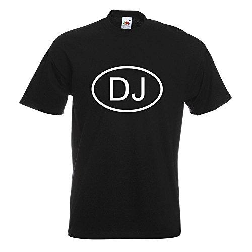 KIWISTAR - Dschibuti DJ T-Shirt in 15 verschiedenen Farben - Herren Funshirt bedruckt Design Sprüche Spruch Motive Oberteil Baumwolle Print Größe S M L XL XXL Schwarz