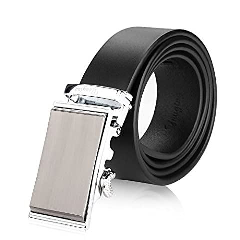 YAUGING Mens Genuine Leather Black Belt Full Real Leather Belts for Trousers (Large, Black with Automatic Buckle)