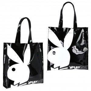 playboy-gift-range-large-patent-shopper-bag-black-white