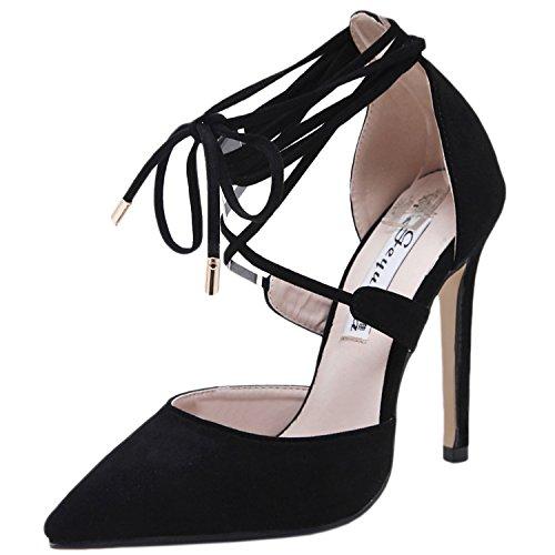 Oasap Women's Pointed Toe Lace up Stiletto Heels Pumps Black