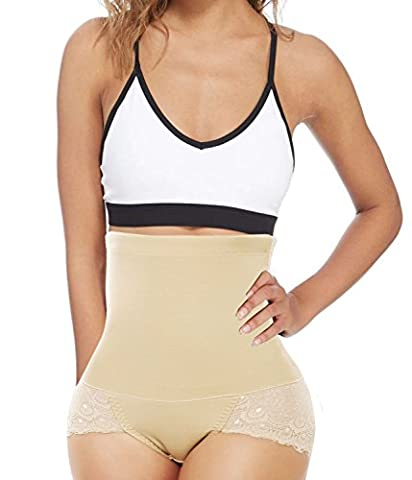 Hi-Waist Butt Lift Lace Trim Tummy Control Panties Thigh Trimmer Shaper (2XL, Beige)