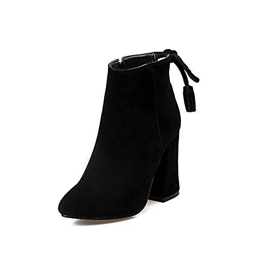 VogueZone009 Damen Mattglasbirne Rein Reißverschluss Blockabsatz Stiefel mit Schleife, Grau, 41