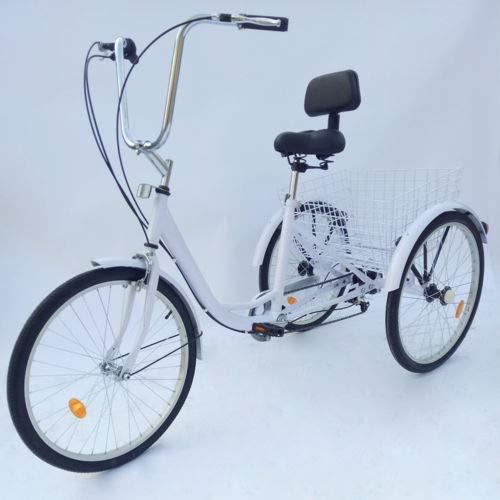 """BTdahong 24\"""" Dreirad für Erwachsene 6 Gäng 3 Rad Goldfarben Aluminium Shopping mit Korb"""