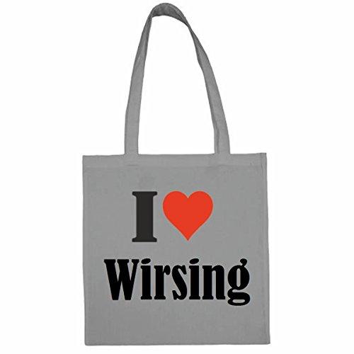 Tasche I Love Wirsing Größe 38x42 Farbe Grau Druck Schwarz