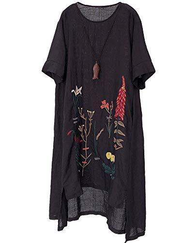 Mallimoda Damen Rundhals Kurzarm Sommerkleid Embroidery Leinen Kleider Art 1-Schwarz XL