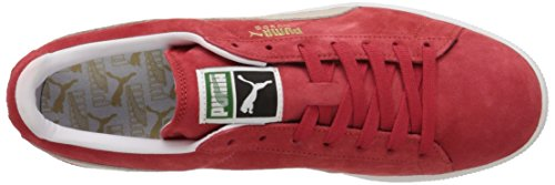 Puma Classic High Risk Red White Suede Leather Mens Trainers rouge