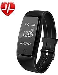 YAMAY® HR3 Reloj Fitness con Pulsómetro en la muñeca, Impermeable IP67 Pulsera Inteligente Bluetooth Podómetro Pulsera de Actividad Para Android y IOS