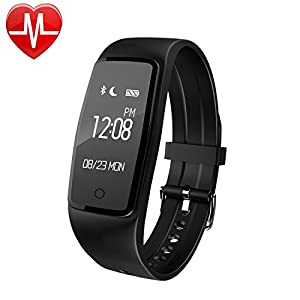 AsiaLONG Fitness Tracker with Heart Rate Monitor Bluetooth Smart Bracelet Activity Tracker with Heart Rate Monitor, Pedometer, Calorie Counter, Sleep Monitor, SMS/Facebook/Whatsapp Push Vibration Compatible with iPhone iOS and Android Phone