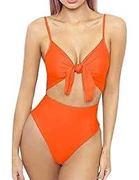 Bikinis Mujer 2020 SHOBDW Color Sólido Conjunto de Bikini Push Up Traje de Baño Mujer Una Pieza Talle Alto Tanga Mujer Nudo de Corbata Acolchado Bra Bañadores de Mujer Sexy
