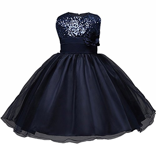 WAWALI Blumenmädchen Sequined Tulle Formal Party Prinzessin Kleider 3 Navy (Dress Cinderella Kleidung Up)