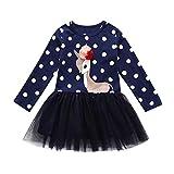 MRULIC Baby Mädchen Cartoon Hirsch Gedruckt Prinzessin Kleid Spitzenkleid Outfits Bluse Kleid Geburtstagskleid 3-8 Jahre(Marineblau,100-110CM)