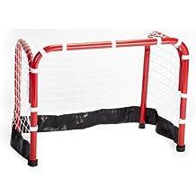 12 Schl/ägern und 12 Lochb/ällen aus bruchsicherem Kunststoff Unbekannt Hockey-Set f/ür Halle oder Rasen inkl 2 Toren aus Metall und Einer praktischen Unihockey-TascheBet