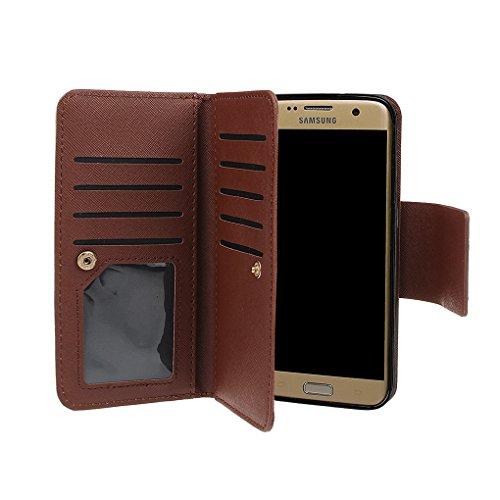 xhorizon MW8 Premium Leder Folio Case [Brieftasche] [Magnetisch Abnehmbar] Uhrarmband Geldbeutel Flip Mehrere Kartensteckplätze Vogel Hülle Tasche für Samsung Galaxy S7 Edge mit einer KFZ Halterung Beige