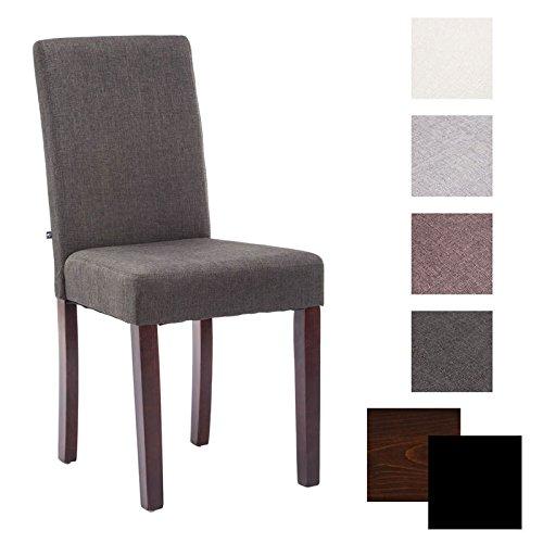 CLP Sedia da cucina / da pranzo INA, telaio in legno, fodera in stoffa, altezza seduta 47 cm, colori a scelta colore del legno cappuccino, fodera grigia