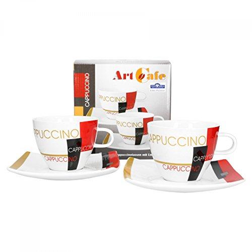 er Set Geschirr Serie Art Cafe | modernes Pop Art Dekor | Artikel wählbar, Serie Art Cafe:Cappuccinotasse + Untertasse ()