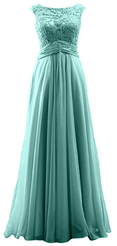 MACloth Elegant Cap Sleeves Long Prom Dress Lace Chiffon Formal Evening Gown Turquoise