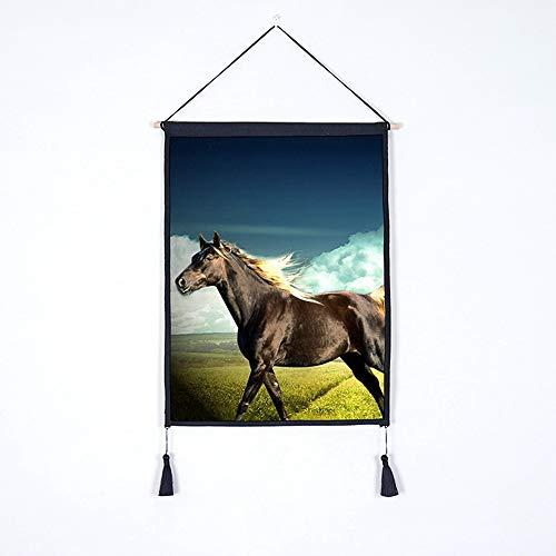 d Leinen Fabric Dekorative Tapstry Grün Planting Hanging Tuch Photography Pferd Buckground Tuch Baumwolle Und Leinen Fabric, A3 ()