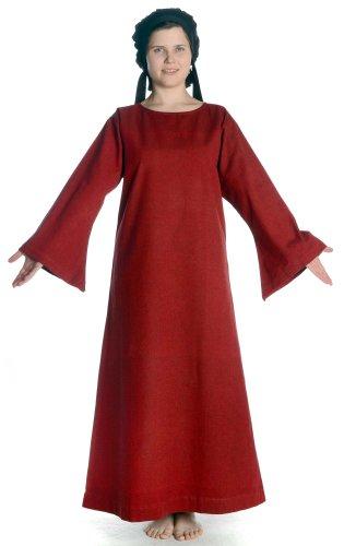 HEMAD Damen Mittelalter Kleid Reine Baumwolle Leinenstruktur Damenkleid rot XL (Kleider Mittelalterliche Verkauf Für)