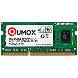 QUMOX 4GB 204 Pin DDR3L-1600 SO-DIMM (1600Mhz, PC3L-12800S, CL11, 1.35V, Low Voltage)
