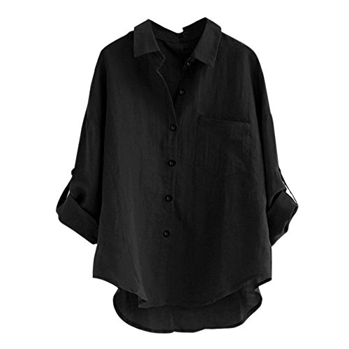 Clearance Women's Linen Blouse Tops Buttos Long Sleeve, Casual V-Neck Button Dwon Lapel Shirts Cuffed Sleeve Loose Autumn Summer T-Shirts for Ladies Teen Girls Tunic Blouse Tops Fashion Jumper