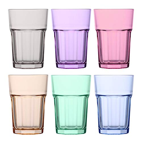 LAV Aras Highball Cocktail Tumbler Glasses - 365ml - Bunte - Packung mit 6 Tequila Shooter