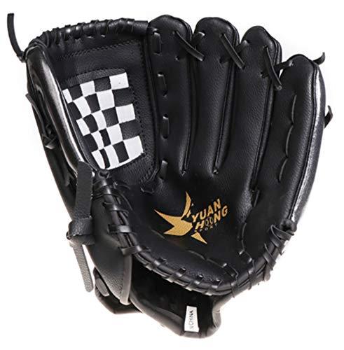 uh Sports Ball Handschuh-Schwarze Outdoor-Batting-Handschuhe Für Kinder Und Erwachsene Catcher Es Mitt ()