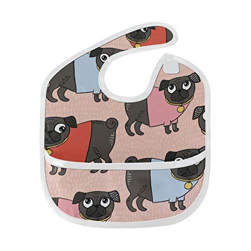 Lätzchen Babynahrung Muster Mops tragen T-Shirt Benutzerdefinierte weichen Fleck Baby Fütterung Dribbeln Sabbern Lätzchen Rülpsen für Kleinkinder 6-24 Monate Muster Mops tragen T-Shirt -