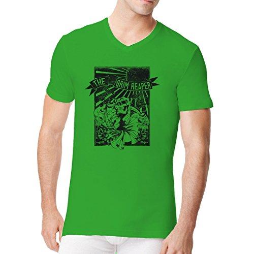 Gothic Fantasy Männer V-Neck Shirt - The Grim Reaper by Im-Shirt Kelly Green