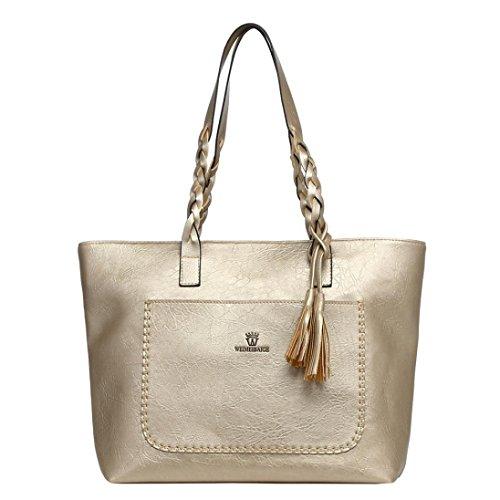 Damen Schultertasche, VJGOAL Frauen Mädchen Leder Quasten Handtasche Schulter Messenger Bag Damen Satchel Tote große Taschen Frau Geschenk (43*31*13cm, Gold) (Quasten Große Tote)