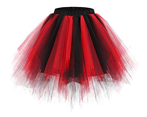 bridesmay Tutu Damenrock Tüllrock 50er Kurz Ballet Tanzkleid Unterkleid Cosplay Crinoline Petticoat für Rockabilly Kleid Black-Red L (Einfach Red Queen Kostüm)