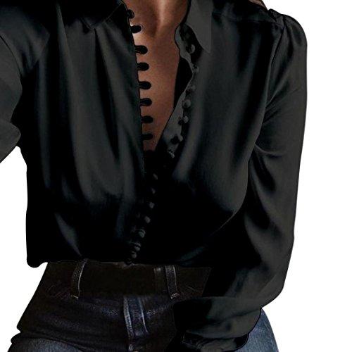 Donna casuale solido manica lunga camicetta camicia Rawdah Magliette lunghe a maniche lunghe casual della camicia della camicetta delle donne Nero