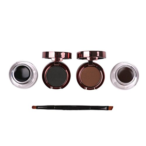 OverDose Wasserdichtes Augenbrauenpuder Eyeliner Gel Set mit Definer Brush Mirror Kit(1 x Pcs Black Eyeliner Gel & Augenbrauen Pulver +1 x Pcs Brown Eyeliner Gel & Augenbraue (Make Gesicht Halloween Katze Up)