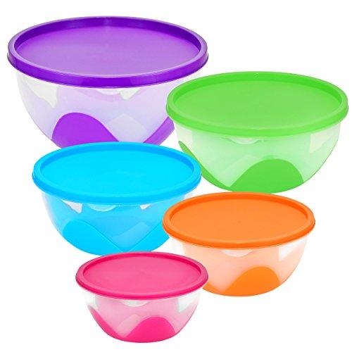 Southern Homewares 5Stück verschachtelt & stapelbar Schale/Frischhaltedosen, Multicolor